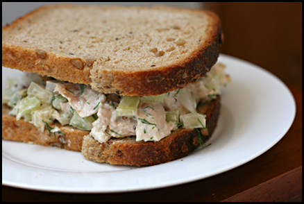 A light chicken salad that stays put on your sandwich!