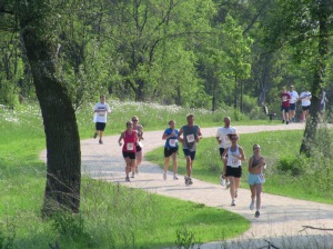 Runners on the course, front view