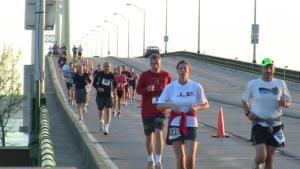 Runners on the Mackinac Bridge